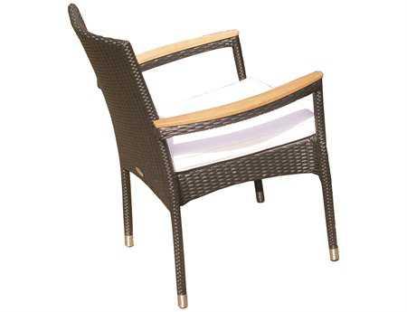 Royal Teak Helena Wicker Cushion Black Stacking Arm Chair