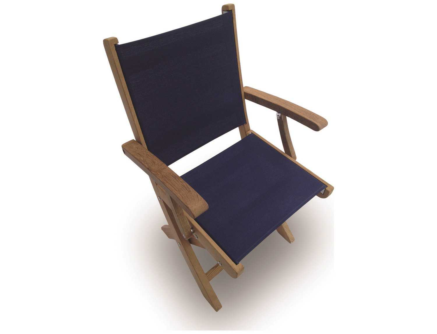 Royal Teak Collection Sailmate Navy Sling Folding Dining Arm Chair