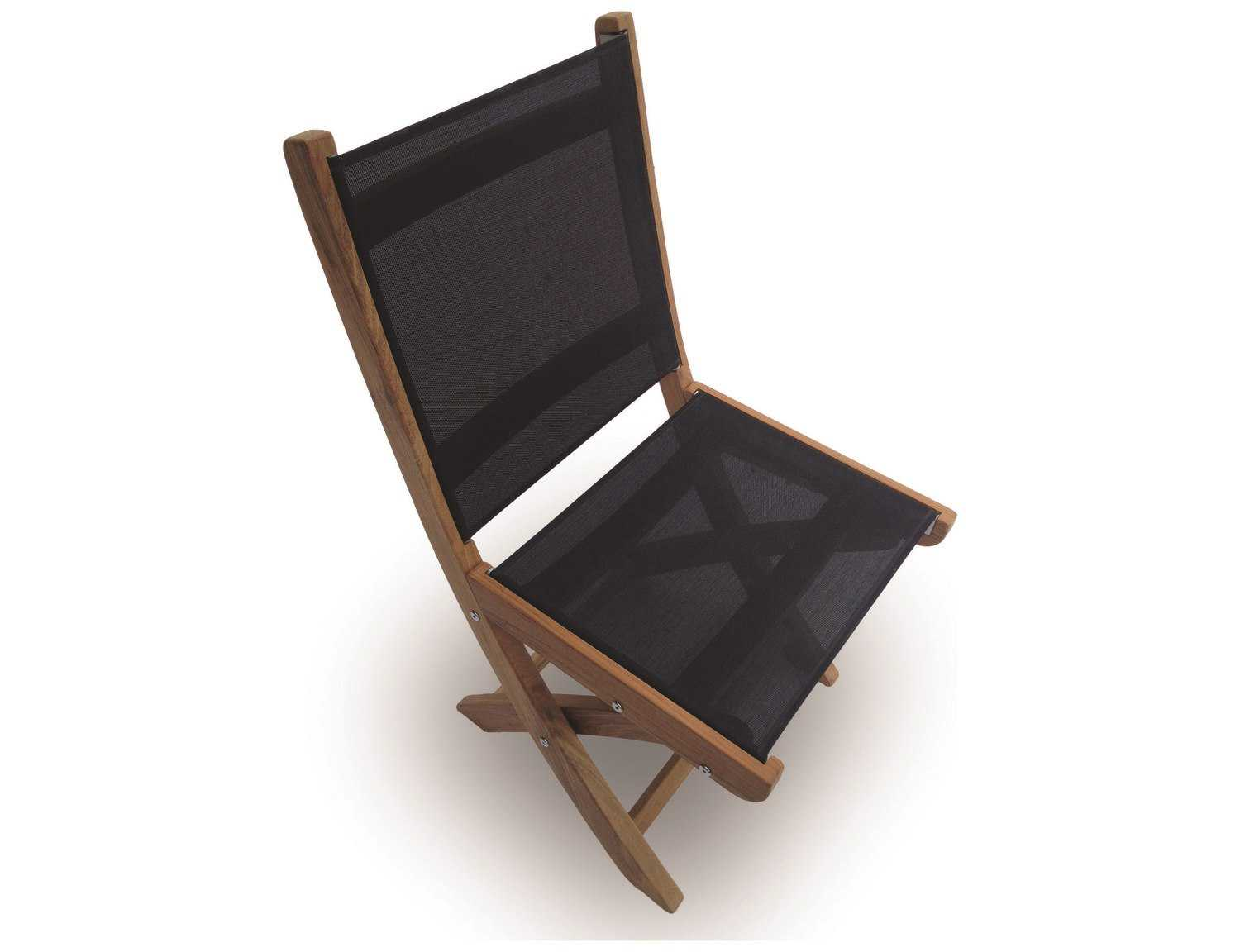 Royal Teak Collection Sailmate Black Sling Folding Dining Side Chair