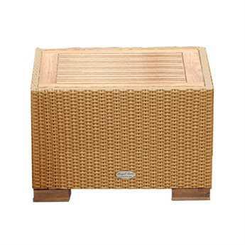 Royal Teak Wave Wicker 24 Square Honey Side Table