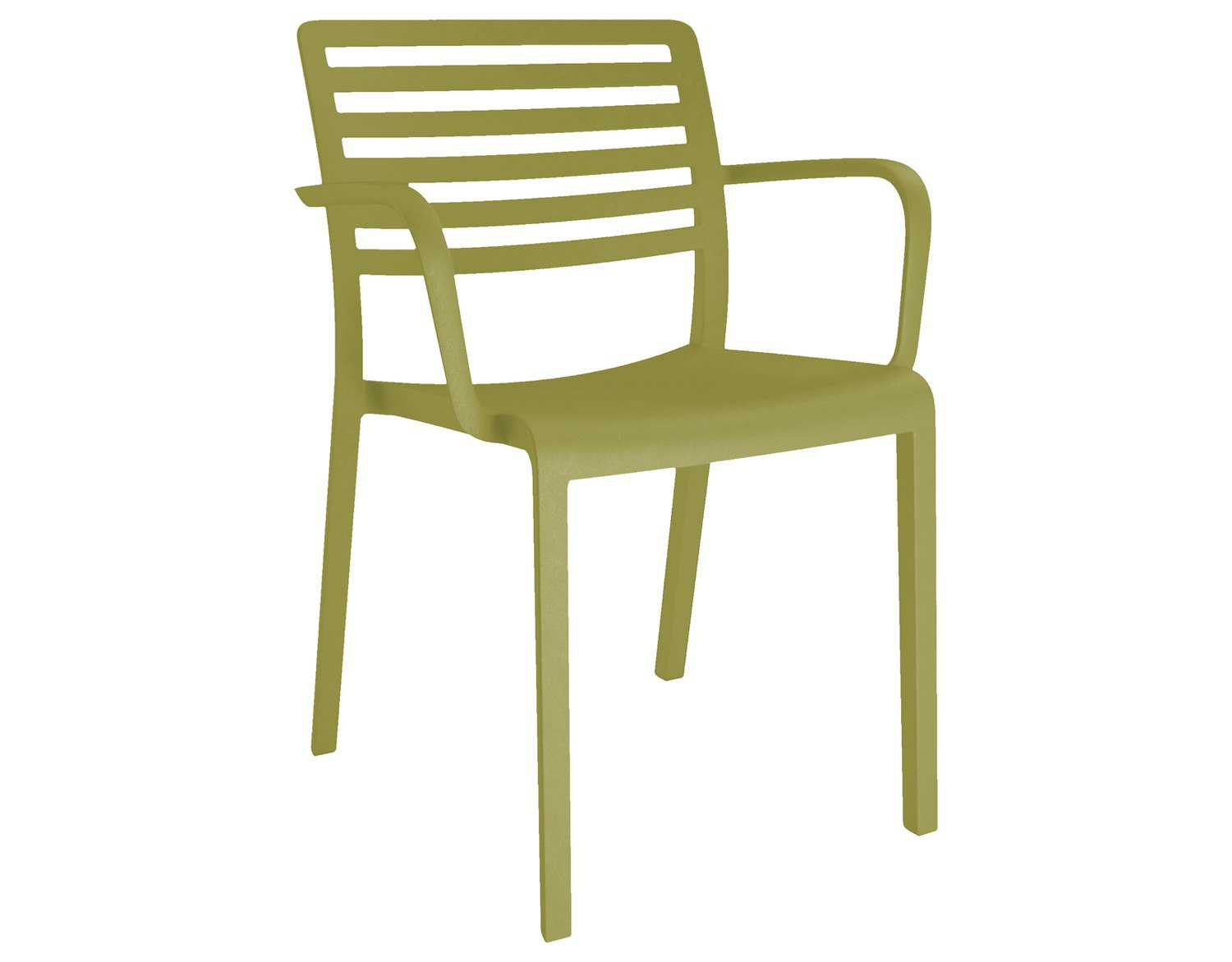 resol lama recycled plastic green olive arm chair  zoom