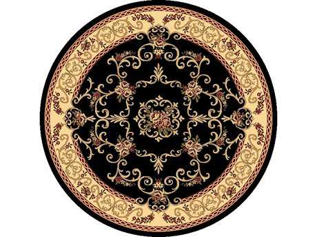 Rugs America New Vision Traditional Black Machine Made Synthetic Floral/Botanical Area Rug- 207-BLK-ROU