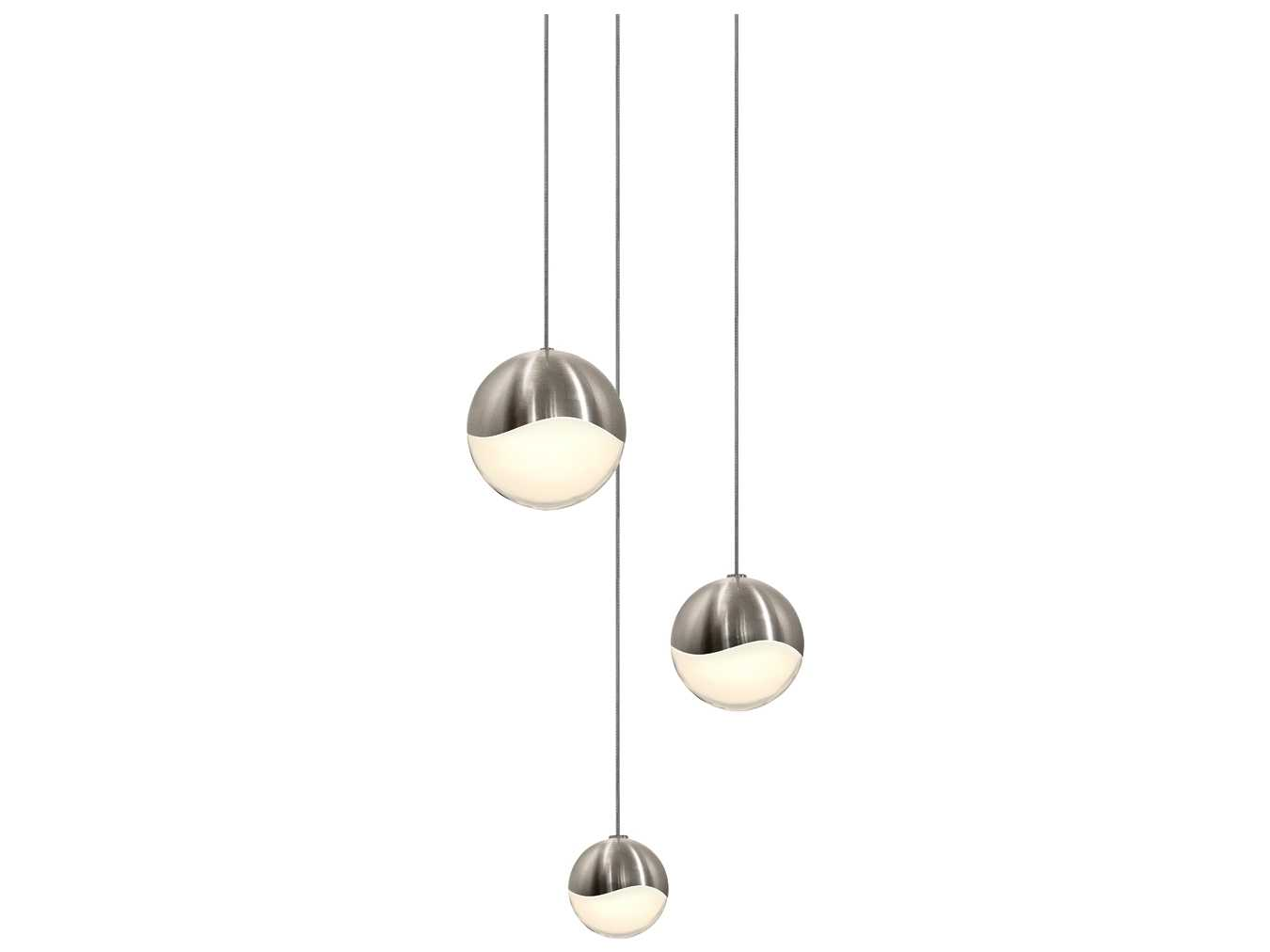 Portfolio 3 Light 22 In Brushed Nickel Bowl Vanity Light: Sonneman Grapes Satin Nickel With White Glass Three-Light