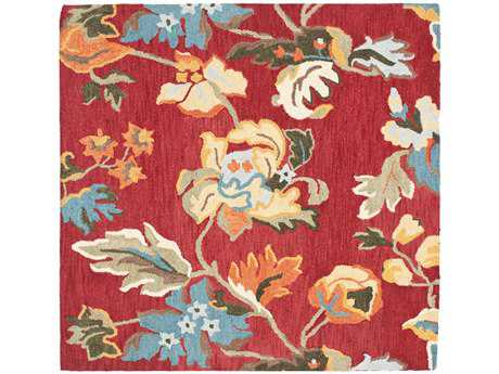 Safavieh Blossom Transitional Red Hand Made Wool Floral/Botanical Area Rug- BLM672A-SQU