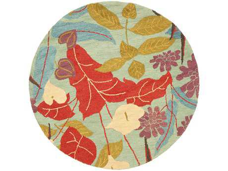 Safavieh Blossom Transitional Red Hand Made Wool Floral/Botanical Round 4' Area Rug - BLM674A-4R
