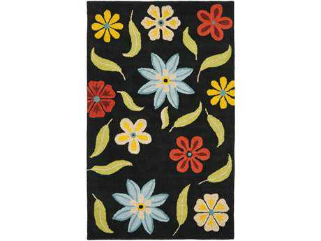Safavieh Blossom Transitional Black Hand Made Wool Floral/Botanical 2'6'' x 4' Area Rug - BLM678B-24