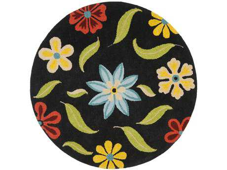 Safavieh Blossom Transitional Black Hand Made Wool Floral/Botanical Area Rug- BLM678B-ROU
