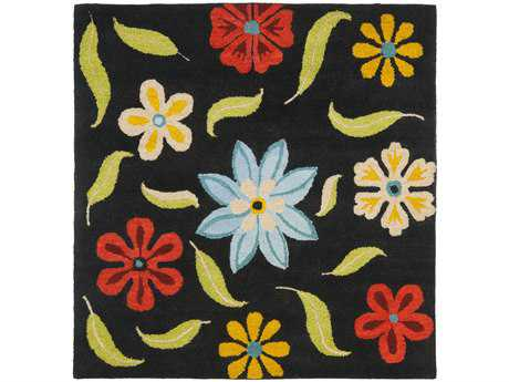 Safavieh Blossom Transitional Black Hand Made Wool Floral/Botanical Area Rug- BLM678B-SQU