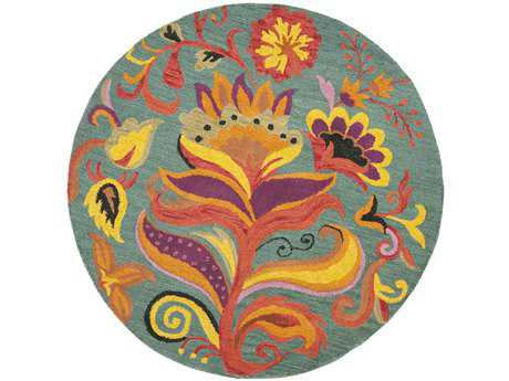 Safavieh Blossom Transitional Teal Hand Made Wool Floral/Botanical Round 4' Area Rug - BLM679A-4R