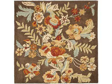 Safavieh Blossom Transitional Brown Hand Made Wool Floral/Botanical Area Rug- BLM915A-SQU