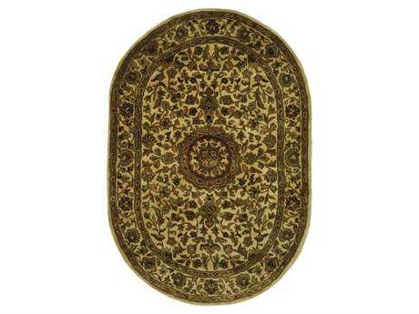 Safavieh Classic Traditional Brown Hand Made Wool Floral/Botanical Oval 4'6'' x 6'6'' Area Rug - CL762A-5OV