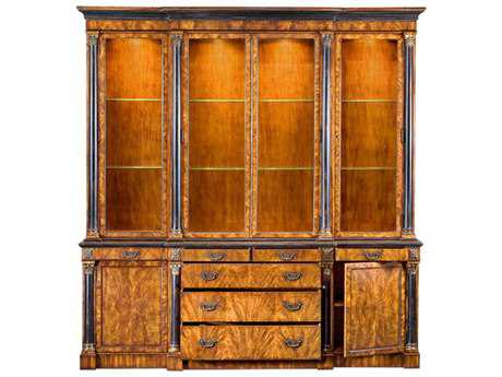Sarreid Old World Walnut & Ebony 101''W x 22''D Breakfront Cabinet