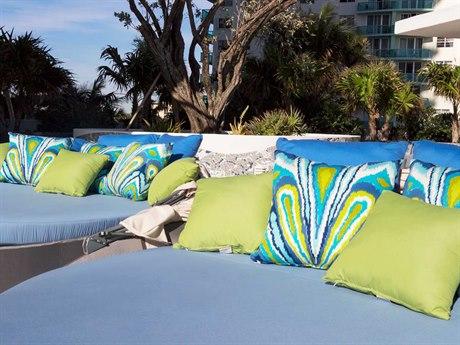 Source Outdoor Aqua Aluminum 4 Person Cushion Pool Patio Lounge Set