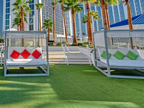 Source Outdoor Breeze Aluminum 3 Person Cushion Pool Patio Lounge Set