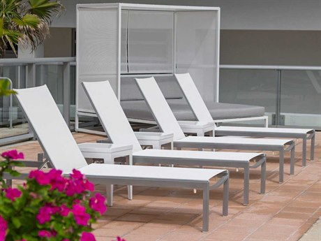 Source Outdoor Fusion Aluminum 4 Person Sling Pool Patio Lounge Set