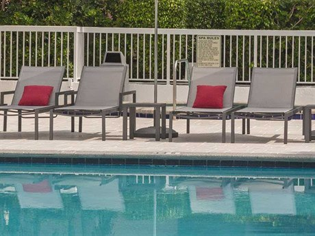 Source Outdoor Fusion Aluminum 8 or more Sling Pool Patio Lounge Set