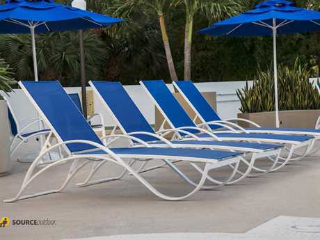 Source Outdoor Atlantic Aluminum 7 Person Sling Pool Patio Lounge Set