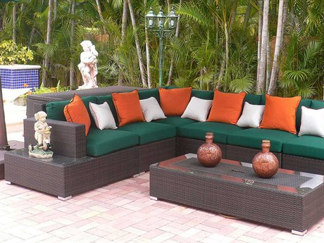 Source Outdoor Manhattan Wicker 6 Person Cushion Sectional Patio Lounge Set