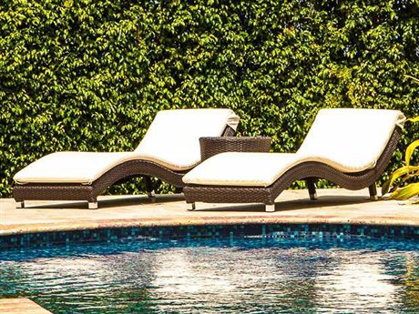 Source Outdoor Wave Wicker 2 Person Cushion Pool Patio Lounge Set