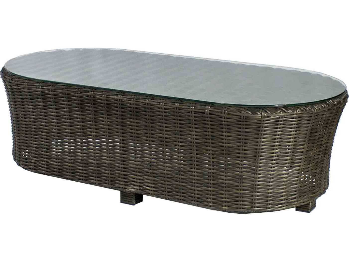 Source Outdoor Furniture Wellington Wicker 48 X 24 Oval Coffee Table So 2019 331