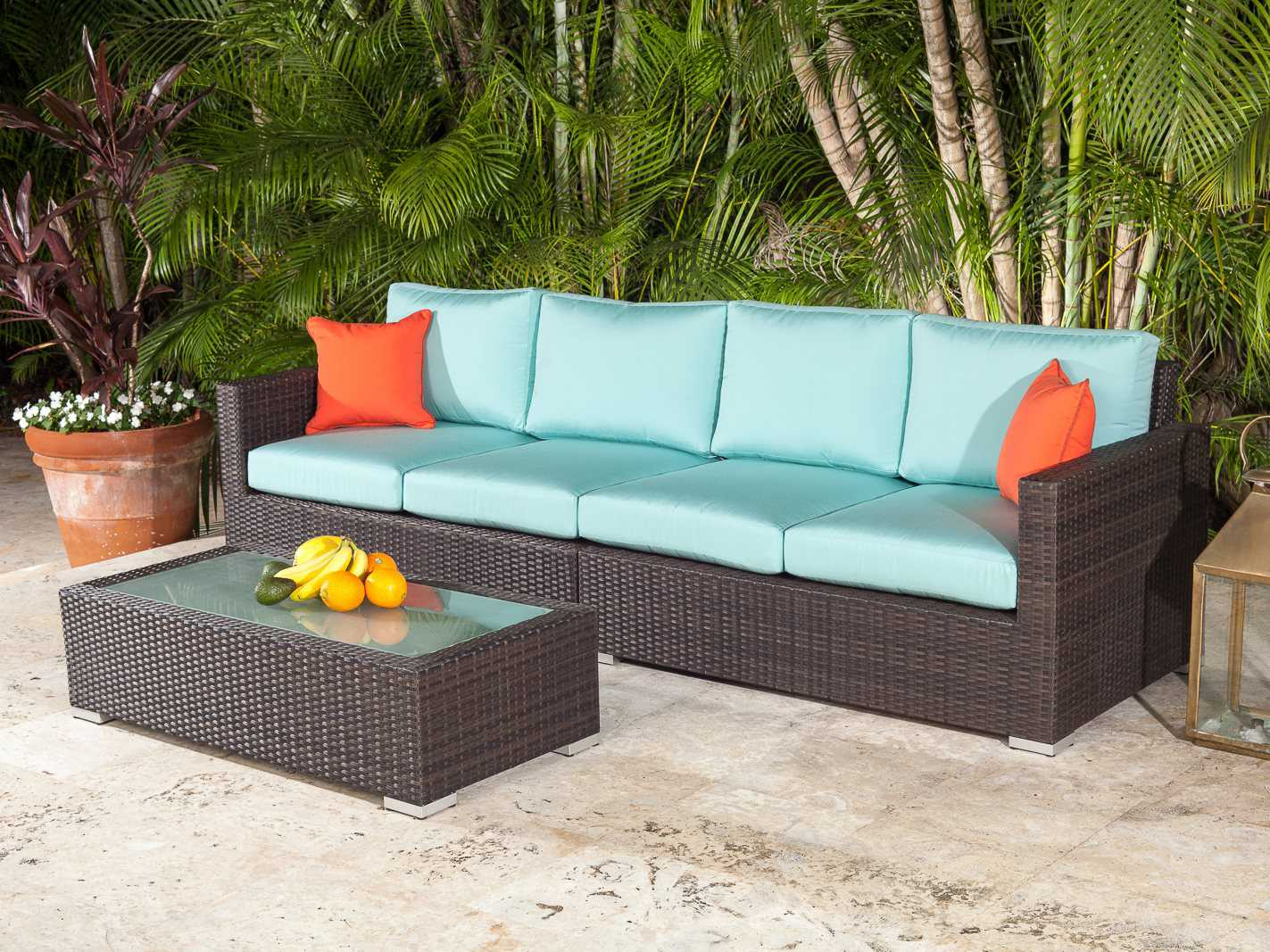 Source Outdoor Furniture Lucaya Wicker 48 x 24 Rectangular