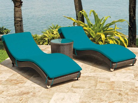 Source Outdoor Wave Wicker 2 Person Cushion Conversation Patio Lounge Set