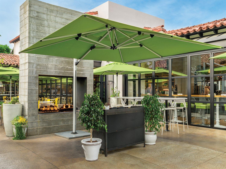 Hover to zoom - Shademaker Polaris Aluminum 11'5 Crank Lift Offset Square Umbrella