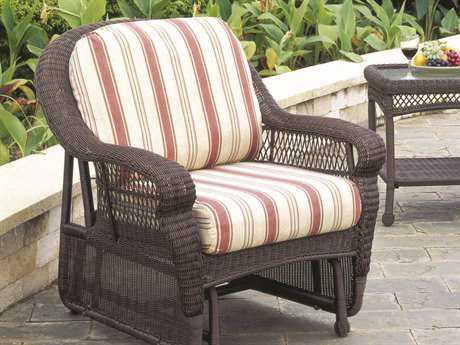 South Sea Rattan Montego Bay Wicker Cushion Arm Glider Lounge Chair