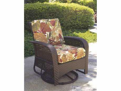 South Sea Rattan Martinique Wicker Cushion Swivel Glider Lounge Chair