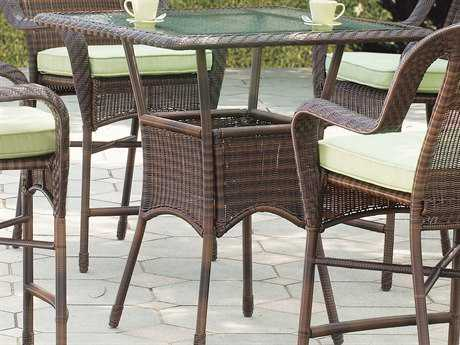 South Sea Rattan Key West Wicker 36'' Square Glass Bar Table