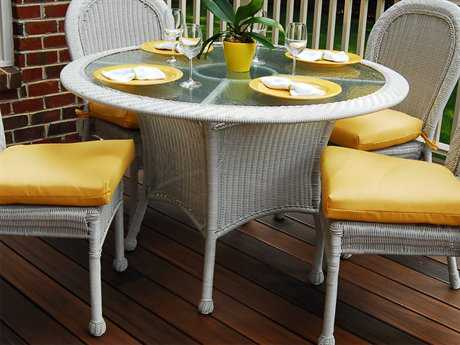 South Sea Rattan Key West Wicker 48'' Round Glass Dining Table