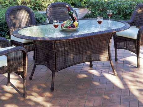 South Sea Rattan Key West Wicker 72'' x 42'' Oval Glass Dining Table