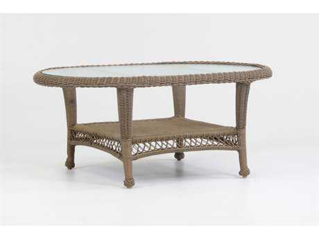South Sea Rattan Savannah Wicker 42'' x 26'' Oval Glass Coffee Table