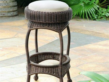 South Sea Rattan Bar Wicker Cushion Stool