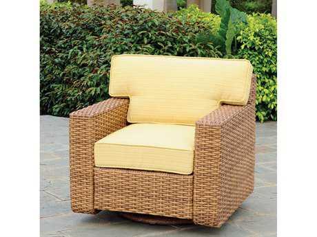 South Sea Rattan Java Wicker Cushion Arm Swivel Glider Lounge Chair