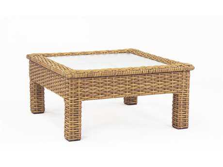 South Sea Rattan Java Wicker 36 Square Glass Chat Table