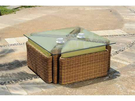 South Sea Rattan Java Wicker 48 Square Glass Coffee Table