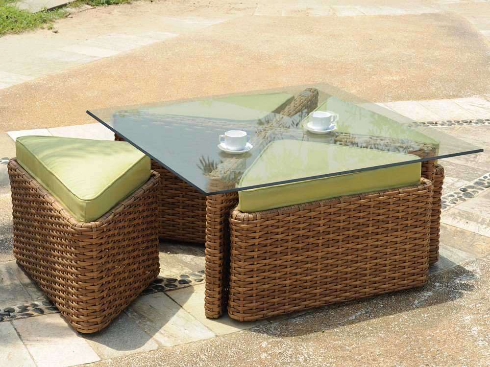 South Sea Rattan Java Wicker 48 Square Glass Coffee Table 79246