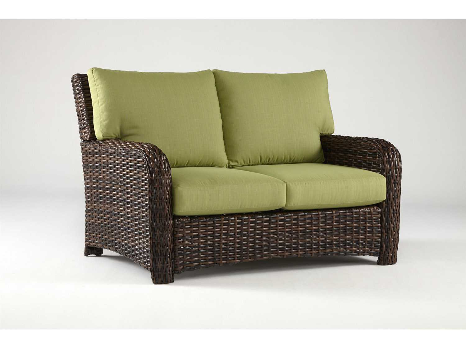 South Sea Rattan St Tropez Wicker Cushion Arm Loveseat 79302
