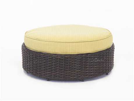 South Sea Rattan St Tropez Wicker Cushion Ottoman