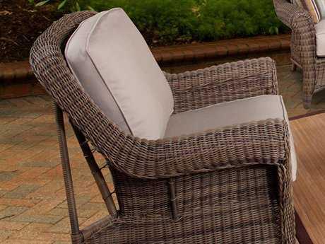 South Sea Rattan Provence Wicker Cushion Arm Swivel Glider Lounge Chair