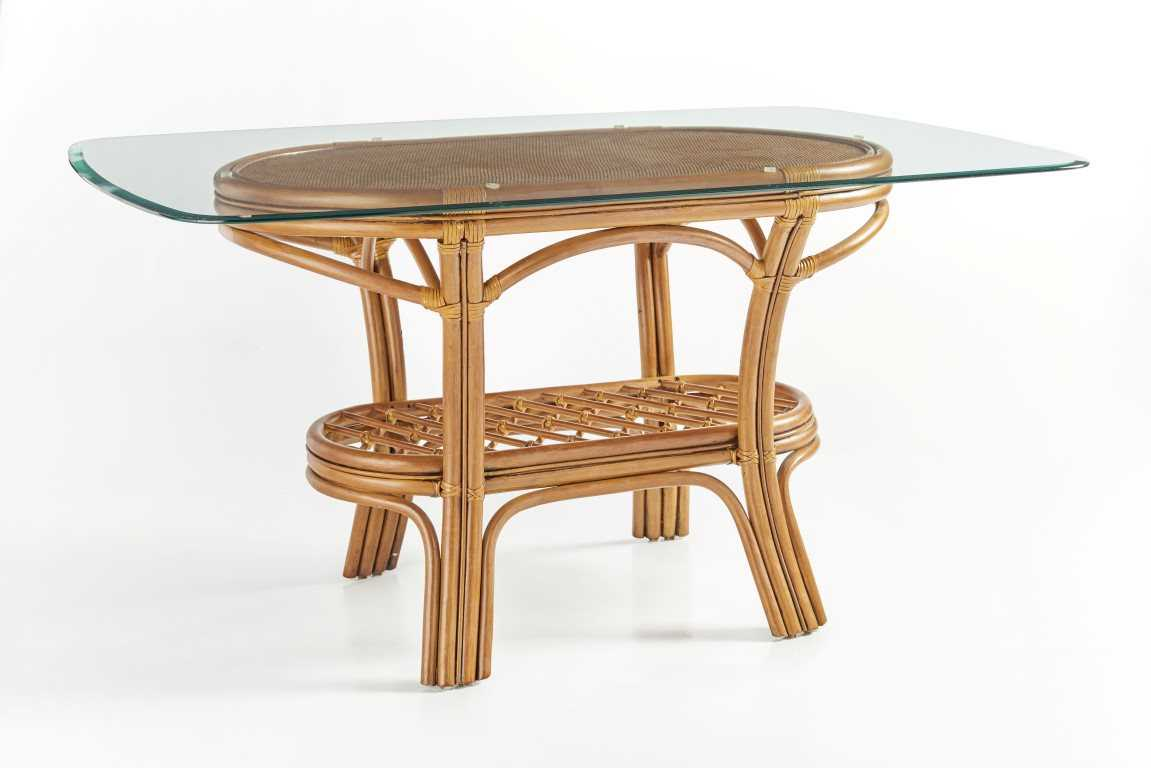 South Sea Rattan Palm Harbor Wicker Oval Glass Dining Table 8618