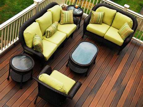 South Sea Rattan Key West Wicker 6 Person Cushion Conversation Patio Lounge Set