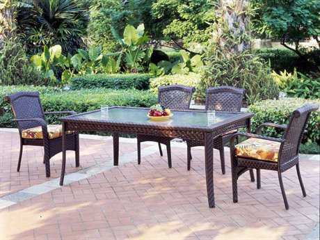 South Sea Rattan Martinique Wicker 4 Person Cushion Casual Patio Dining Set