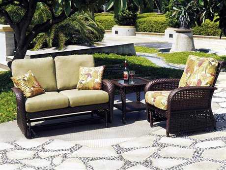 South Sea Rattan Martinique Wicker 2 to 3 Person Cushion Conversation Patio Lounge Set