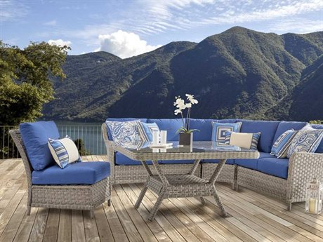 South Sea Rattan Mayfair Wicker 7 Person Cushion Sectional Patio Lounge Set