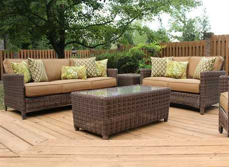South Sea Rattan Patio Done Quick Wicker 5 Person Cushion Conversation Patio Lounge Set