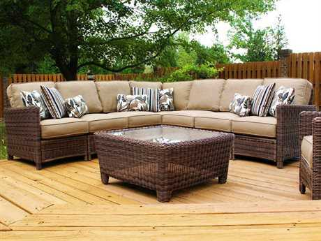 South Sea Rattan Patio Done Quick Wicker 8 or more Cushion Sectional Patio Lounge Set
