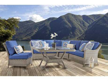 South Sea Rattan Patio Done Quick Wicker 7 Person Cushion Sectional Patio Lounge Set