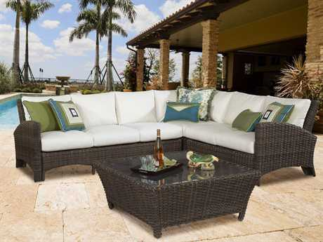 South Sea Rattan Patio Done Quick Wicker 6 Person Cushion Sectional Patio Lounge Set